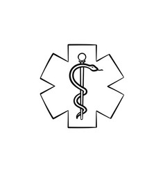 the star of life hand drawn outline doodle icon vector image