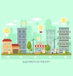 Town or city with energy saving light bulbs vector