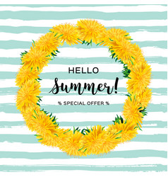 wreath dandelions isolated summer flowers hello vector image