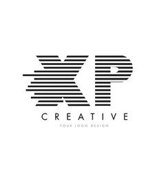 Xp x p zebra letter logo design with black and vector