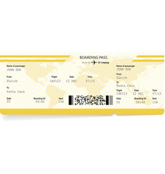 Yellow pattern of airline boarding pass vector
