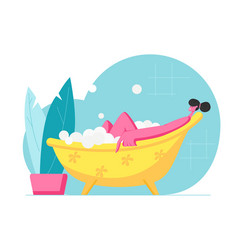 Young woman relaxing in bath with bubbles in spa vector