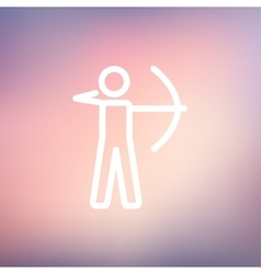 Archery sport thin line icon vector image