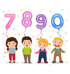 cartoon kids holding number 7890 shaped balloons vector image vector image