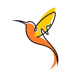 Flying hummingbird in yellow and orange vector image vector image