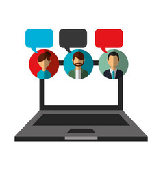 open laptop people speech bubble communication vector image