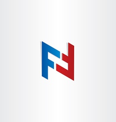 red blue letter f symbol design vector image