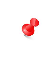 red push pin thumbtack top view vector image