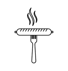 silhouette fork with raw sausage vector image