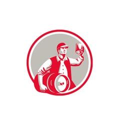 American Worker Keg Toast Beer Mug Circle Retro vector image vector image