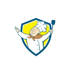 Chef Cook Arm Out Spatula Shield Cartoon vector image vector image