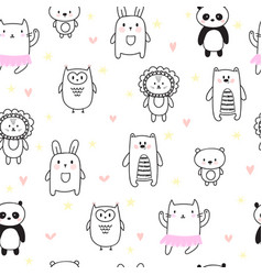 hand drawn seamless pattern for children vector image vector image