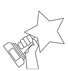 hand holding trophy star victory honor vector image