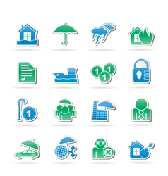 Insurance and risk icons vector image