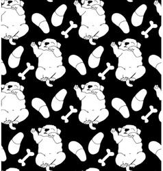 Puppy cute rest sleep relax seamless pattern black vector image