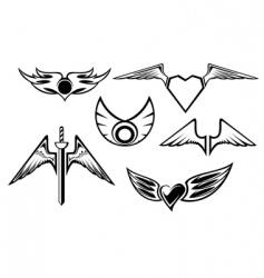 set of wing symbols vector image vector image