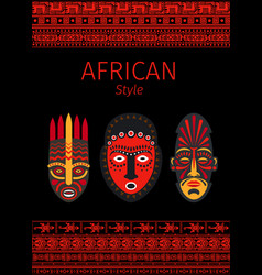 african style red borders and mask vector image