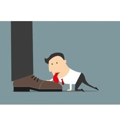 Cartoon flat businessman licking huge boot vector
