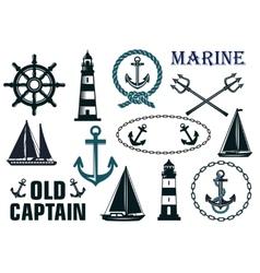 Marine heraldic elements set vector