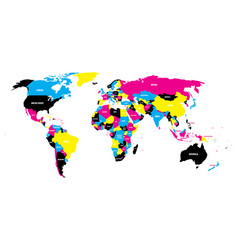 Political map of world in cmyk colors with country vector