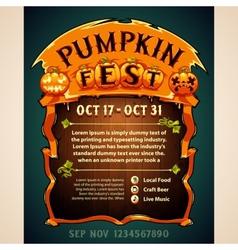 Pumpkin Fest Poster vector image