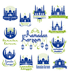 ramadan kareem greetings isolated icon set vector image vector image
