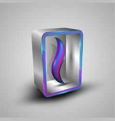 3d square box with colorful lines vector image