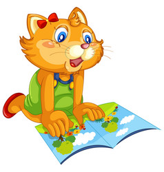 a cat reading book vector image