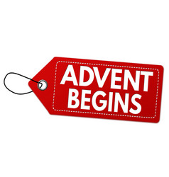 Advent begins label or price tag vector