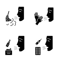 allergies glyph icons set vector image