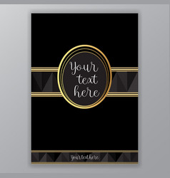 art deco golden black page template vector image
