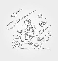 astronaut riding scooter design line art vector image