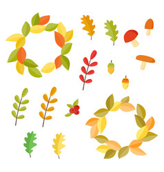 Autumn set collection with autumn signs vector