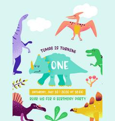 babirthday invitation card with funny dinosaur vector image