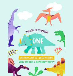 Baby birthday invitation card with funny dinosaur vector