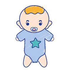 Baby boy with pacifier and hairstyle vector