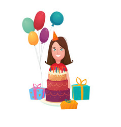 Birthday girl cake composition vector