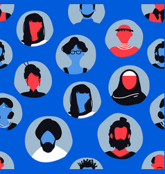 blue people face icon seamless pattern background vector image