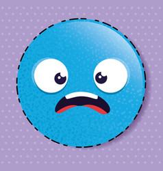 blue scared emoji emoticon character vector image
