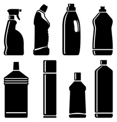 Bottles of cleaning products vector