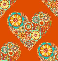 Bright Orange Love Heart Floral Pattern vector image