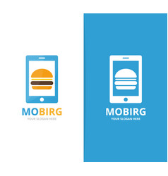 Burger and phone logo combination vector