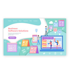 business software solutions web page template vector image