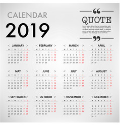calendar for 2019 on grey background with quote vector image