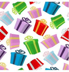 cartoon seamless pattern of gifts in boxes vector image