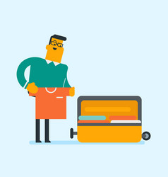 Caucasian white man packing clothes in a suitcase vector