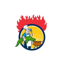 Chef Alligator Spatula BBQ Grill Fire Circle vector image