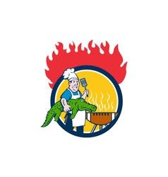 Chef Alligator Spatula BBQ Grill Fire Circle vector