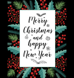 Christmas greeting card with evergreen plants vector