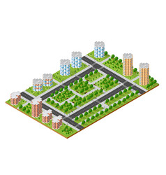 City quarter top view vector